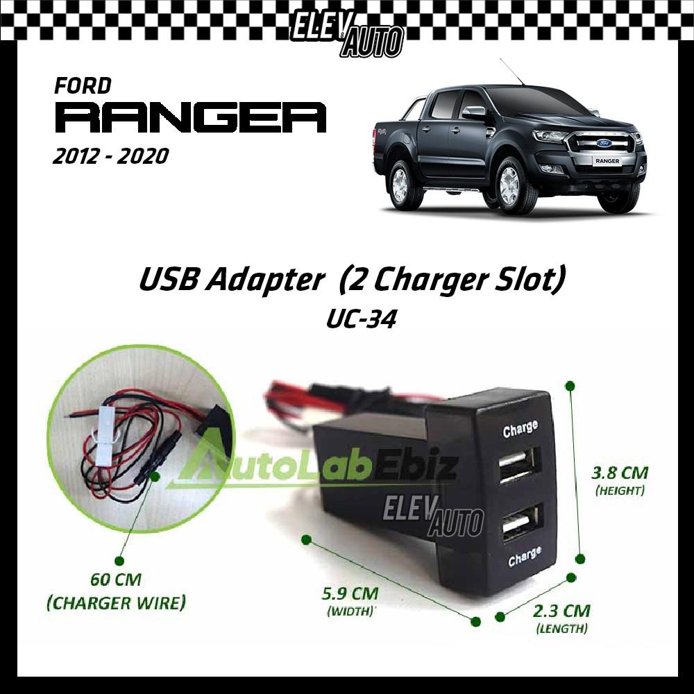 Ford Ranger 2012-2021 USB Adaptor 2 Charger Slots (UC-34)