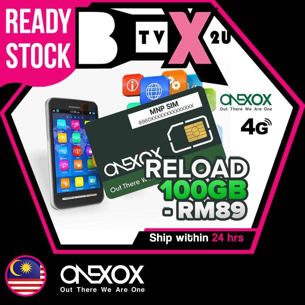 3% Diskaun Reload / Top up Credit ONEXOX 4G LTE Plan B59DB / B89DB 44GB/100GB DATA Plan