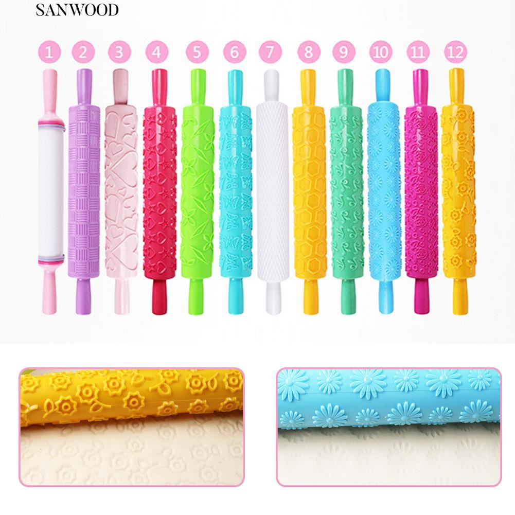 san Engraved Pattern Plastic Pastry Rolling Pin Roller Kitchen Baking Tool