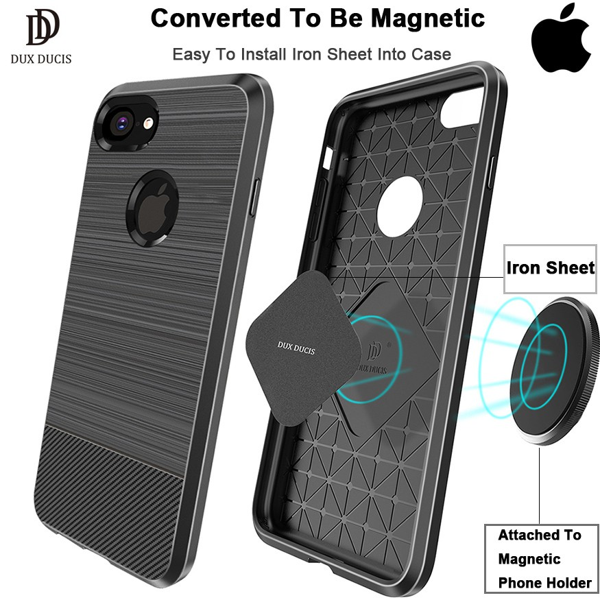 DUX DUCIS iPhone Xs X 8 7 6 Shockproof Magnetic Case Silicone Carbon Back  Cover