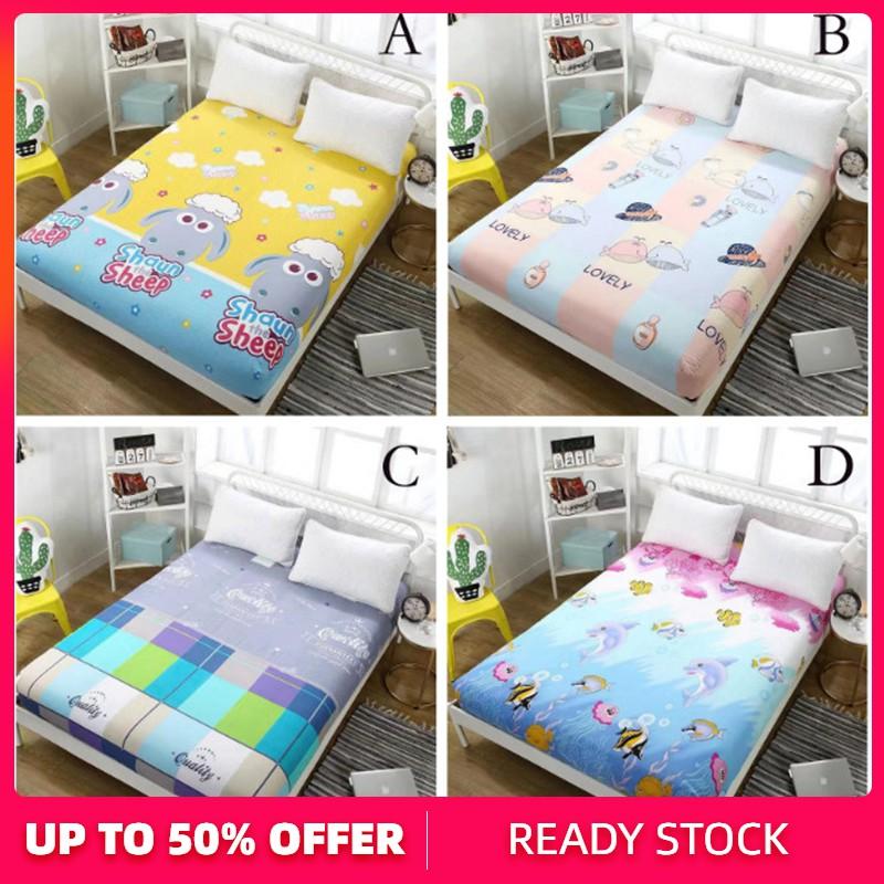 Cartoon Bed Sheets Cadar Mattress Cover Single Queen King Fitted Bedsheet Shopee Malaysia