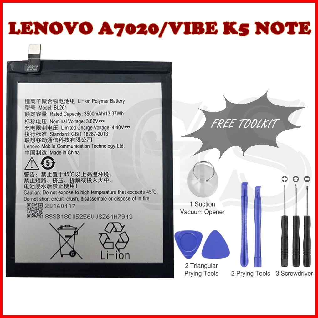 (NGS) 100% ORI Lenovo VIBE K5 NOTE / A7020 Battery BL261 3500mAh with  toolkit