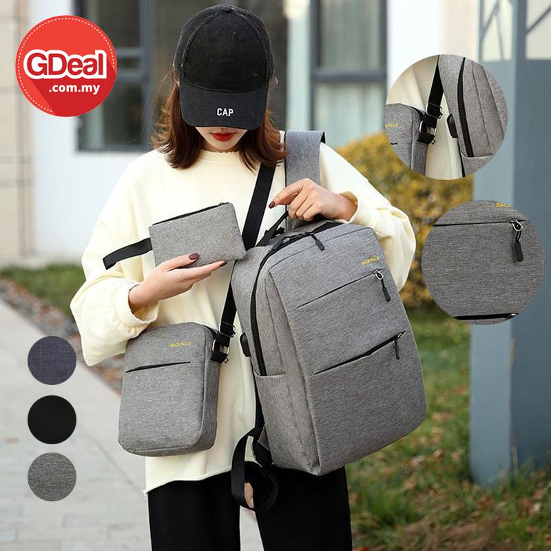 GDeal Korean Fashion USB Charging Backpack Casual Female Student School Bag Beg Galas