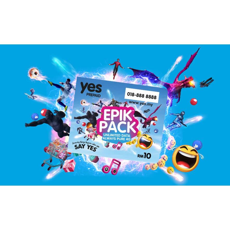 Yes Epik Prepaid New Sim Rm21 Unlimited 4g Internet Speed One