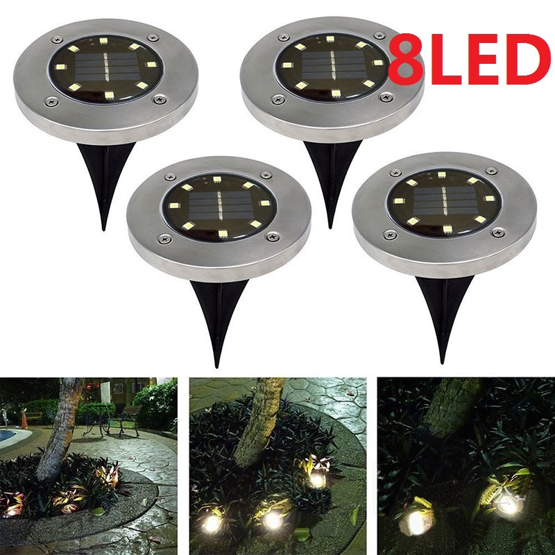 4 x Solar Powered 2 LED In Ground Light Outdoor Pathway Peg Lights Pool Lighting