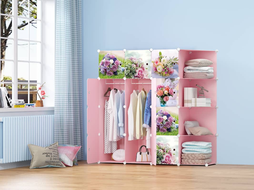 MALAYSIA: FloweryRoses 12 cube C Pink DIY Multipurpose Wardrobe Cabinet Clothes Storage Organizer Almari Rak