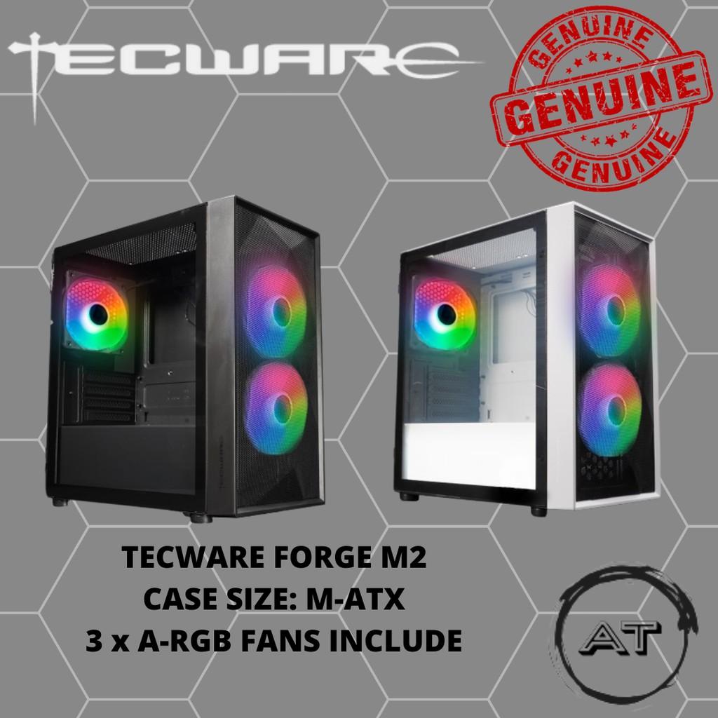 TECWARE FORGE M2 TG ARGB MATX GAMING CASE - BLACK/WHITE
