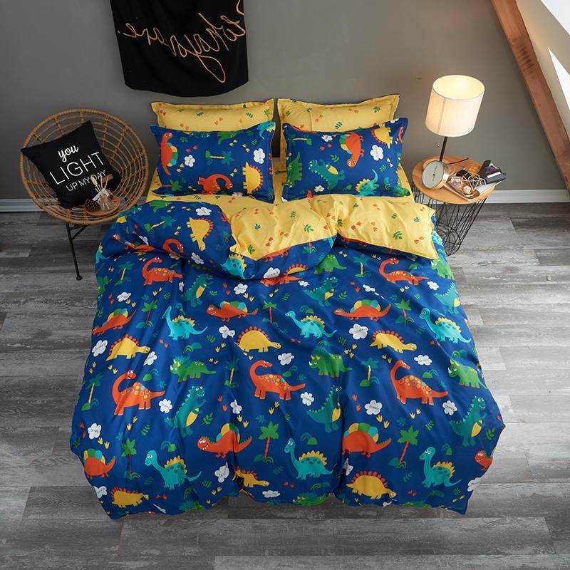 Dinosaur Printed Kids Bedding Set Queen, Queen Size Dinosaur Bedding Set