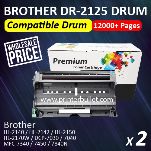 2 unit Brother DR2125 / DR-2125 High Quality Compatible Drum Kit Cartridge