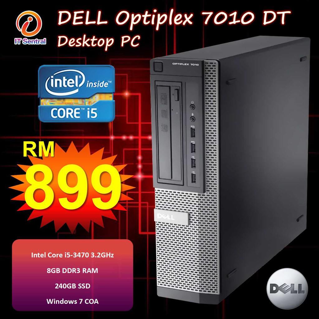 240GB SSD + 8GB + i7 Dell Optiplex 7010 desktop PC - customize to i3 i5  boleh