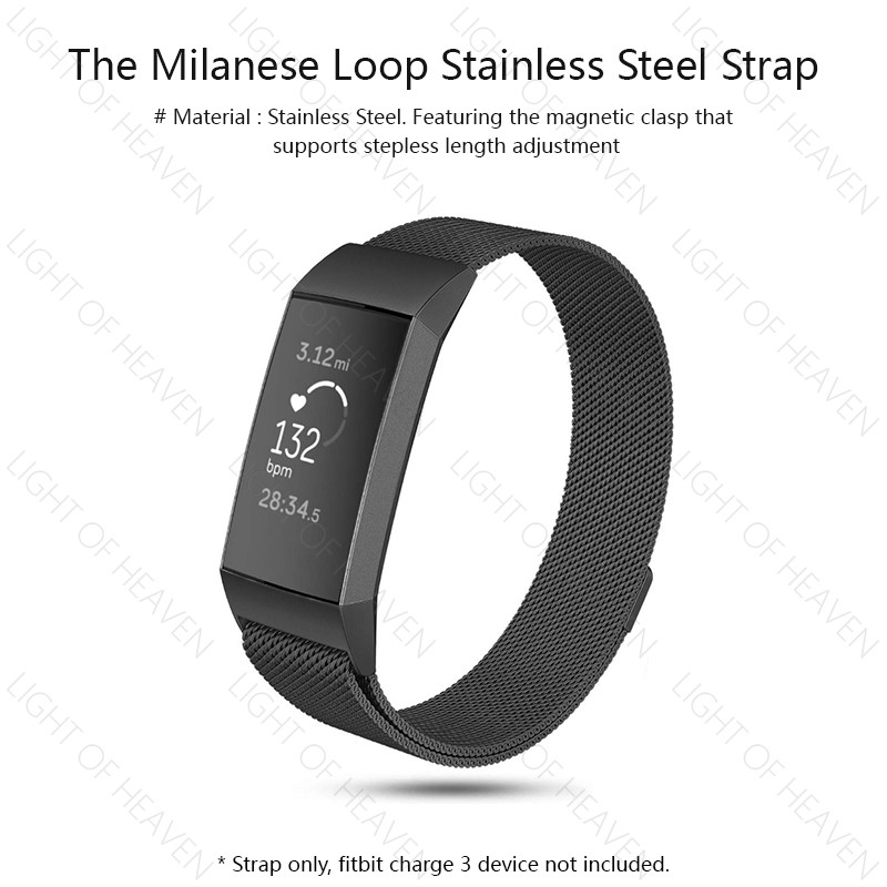 Stainless Steel Milanese Loop Band For Fitbit Charge 3 Strap