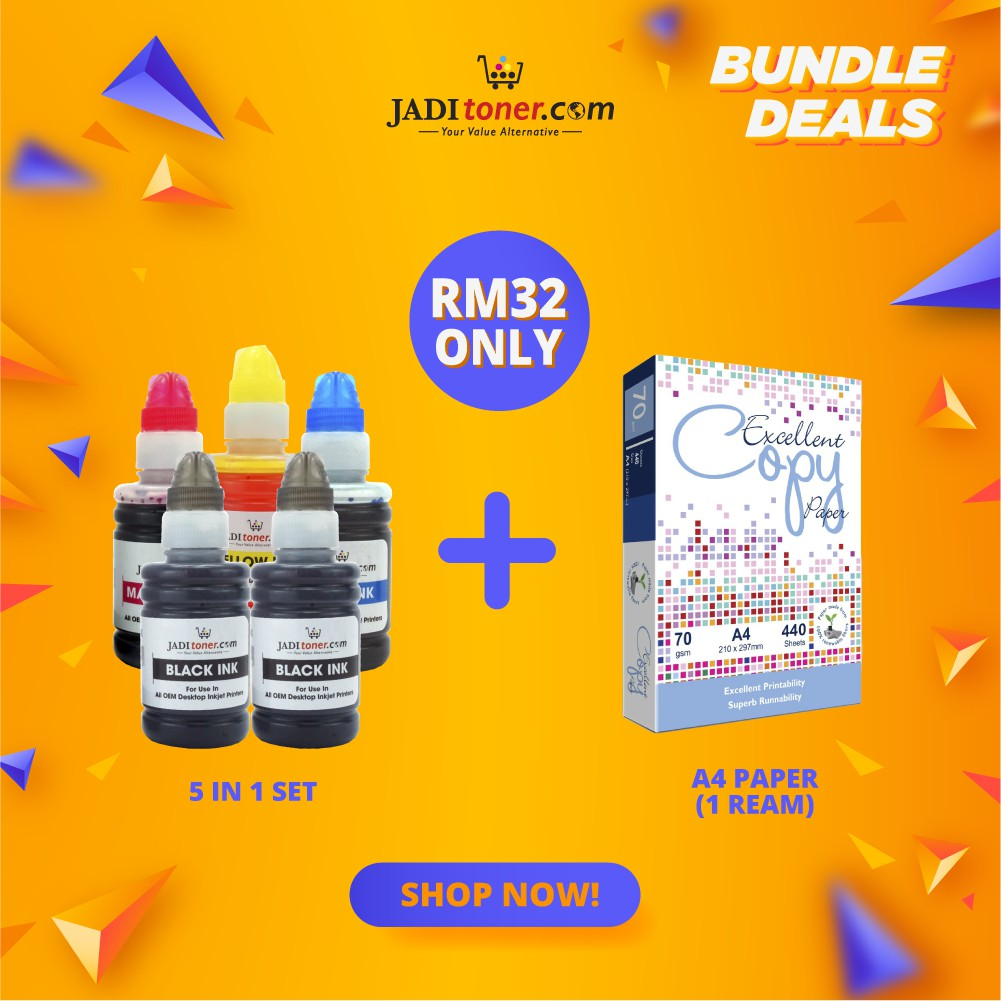 Refill Ink (5 In 1 Set - 100ml) + A4  Paper (1 Ream) Bundle Promo