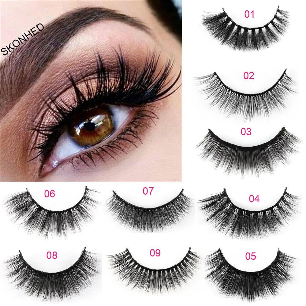 f6dc52d4bbb ProductImage. ProductImage. 5 Pairs 3D Mink Hair False Eyelashes Wispy  Cross Long ...