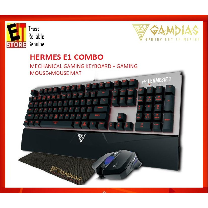 b26edbecd91 GAMDIAS HERMES E1 COMBO MECHANICAL GAMING KEYBOARD+GAMING MOUSE (FREE MOUSE  MAT) | Shopee Malaysia