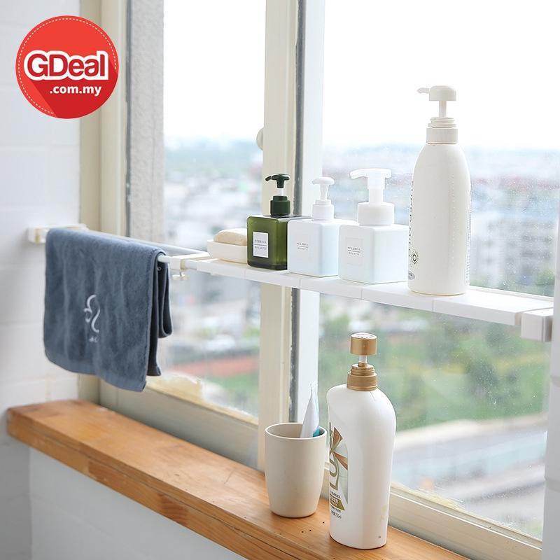 GDeal Kitchen Bathroom 50-80CM Retractable Wall Window Partition Storage Organizer Rak Dapur رق داڤور