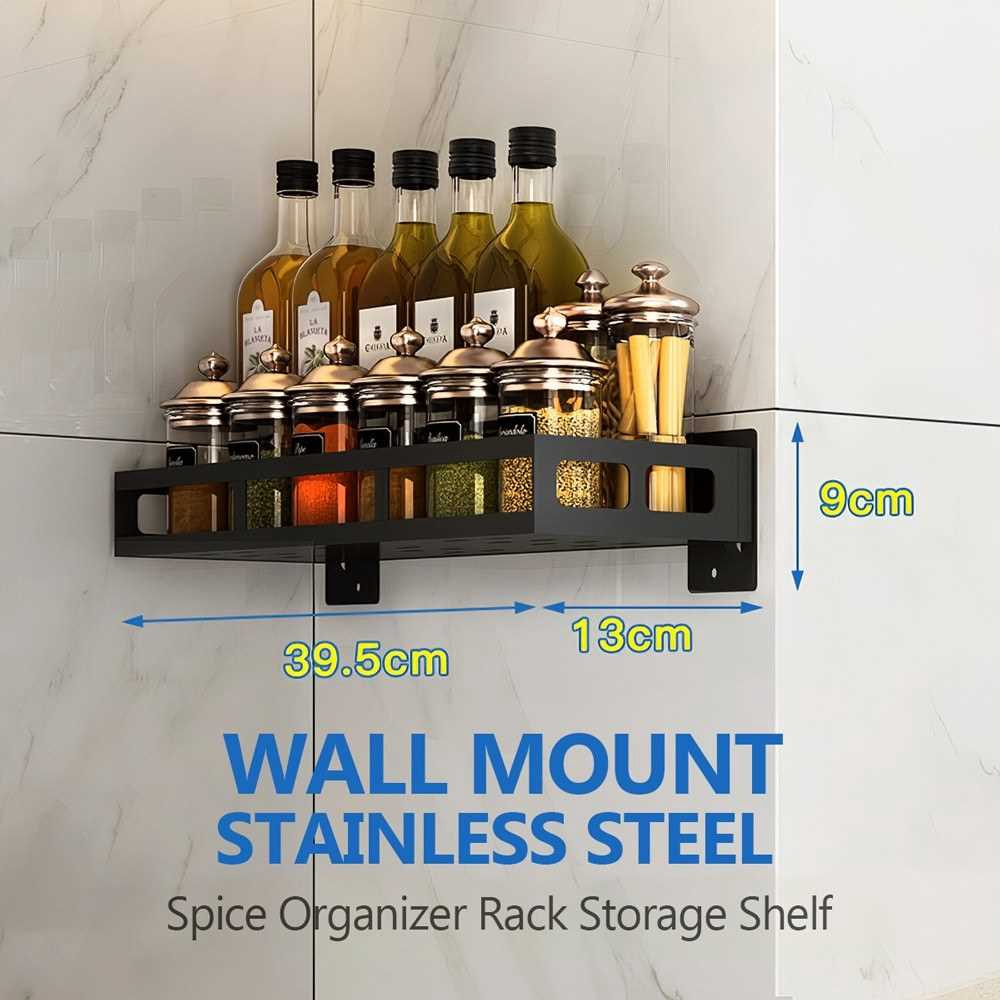 Spice Organizer Rack Wall Mount Stainless Steel Condiment Organizer Storage Shelf for Spice Condiment Seasoning Kitchen