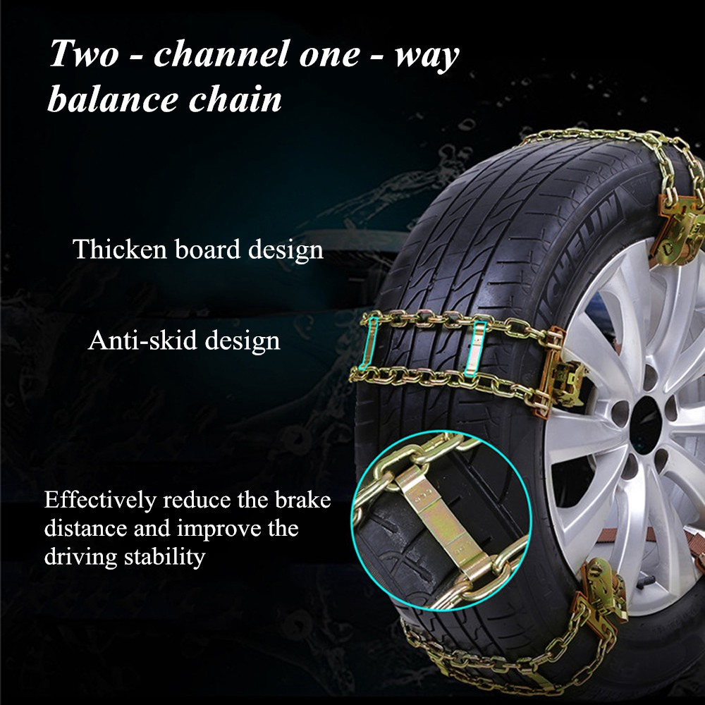 【HL NEW】S/M/L Auto Anti-skid Steel Chains Car Skid Belt Snow Mud Sand Tire Clip-on Chain
