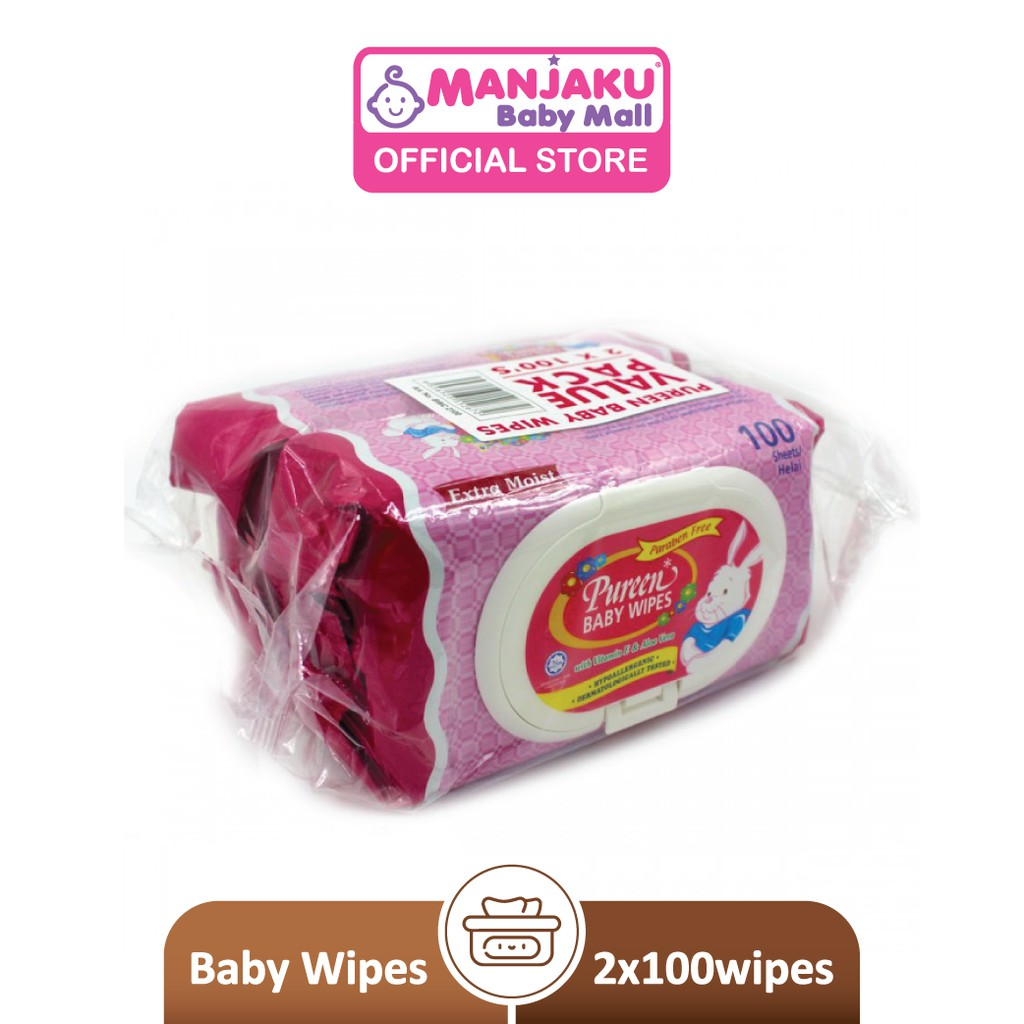 Pureen Baby Wipes - Pink (2 x 100's)