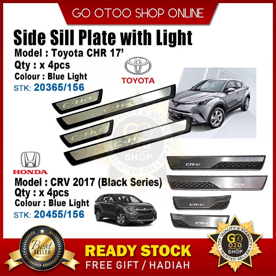 Honda CRV 2017 OEM Plug & Play Stainless Steel Blue LED Car Door Side Sill  Step Plate