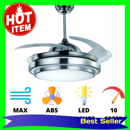 Fanco F117 Retractable Ceiling Fan LED Light Max Air Delivery with Frequency Remote Control (Silver)