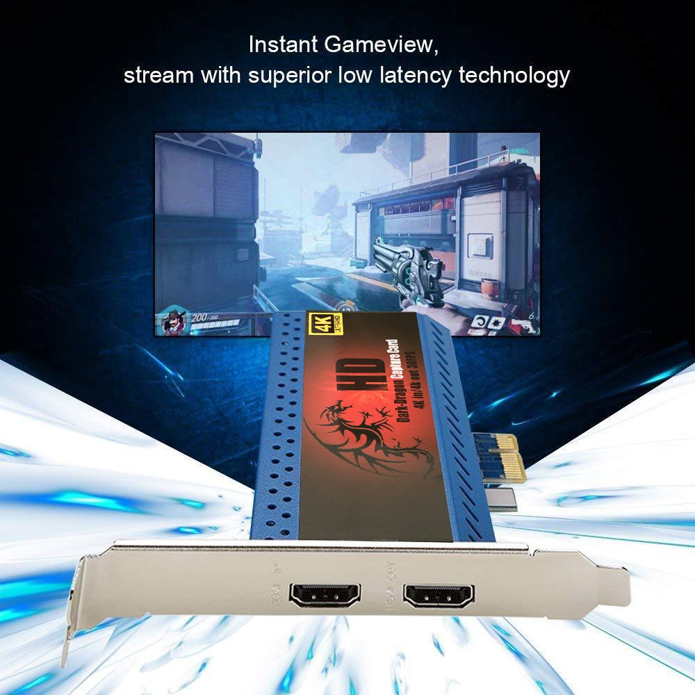 4K In Out HD Game Video Capture Card PCIe Live Streamer 1080P