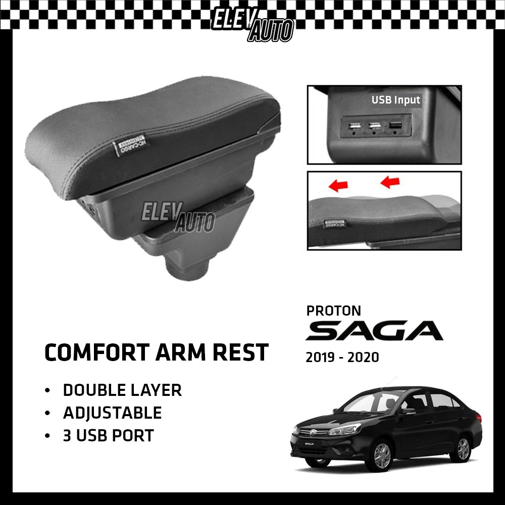 Proton Saga 2016-2021 Premium Leather Arm Rest ArmRest Double Layer Adjustable (3 USB)