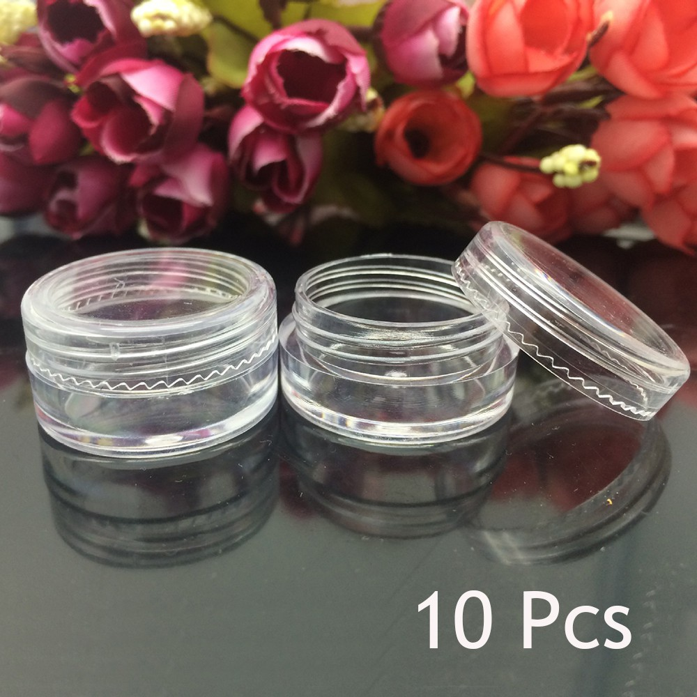 948237451f48 10/50/100X Clear Plastic Container Mini Bottle Pot Jars Cosmetic Tools 3ml