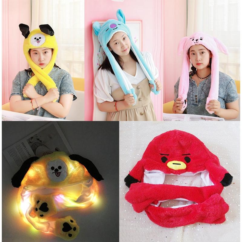 KPOP BTS BT21 Bunny Hat LED Rabbit Hat Ear Move Cartoon Ear Dance Hat