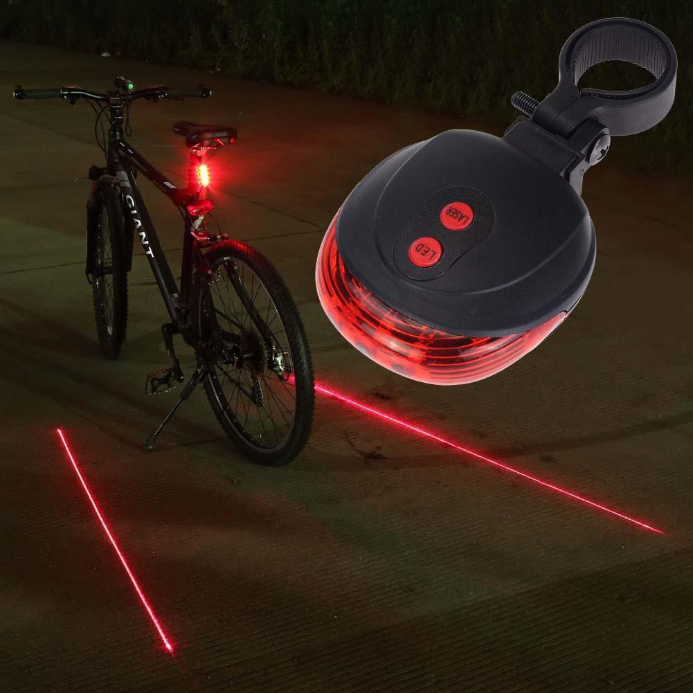 Bike 2 Laser+5 LED Flashing Lamp Rear Cycling Bicycle Tail Safety Warning Light