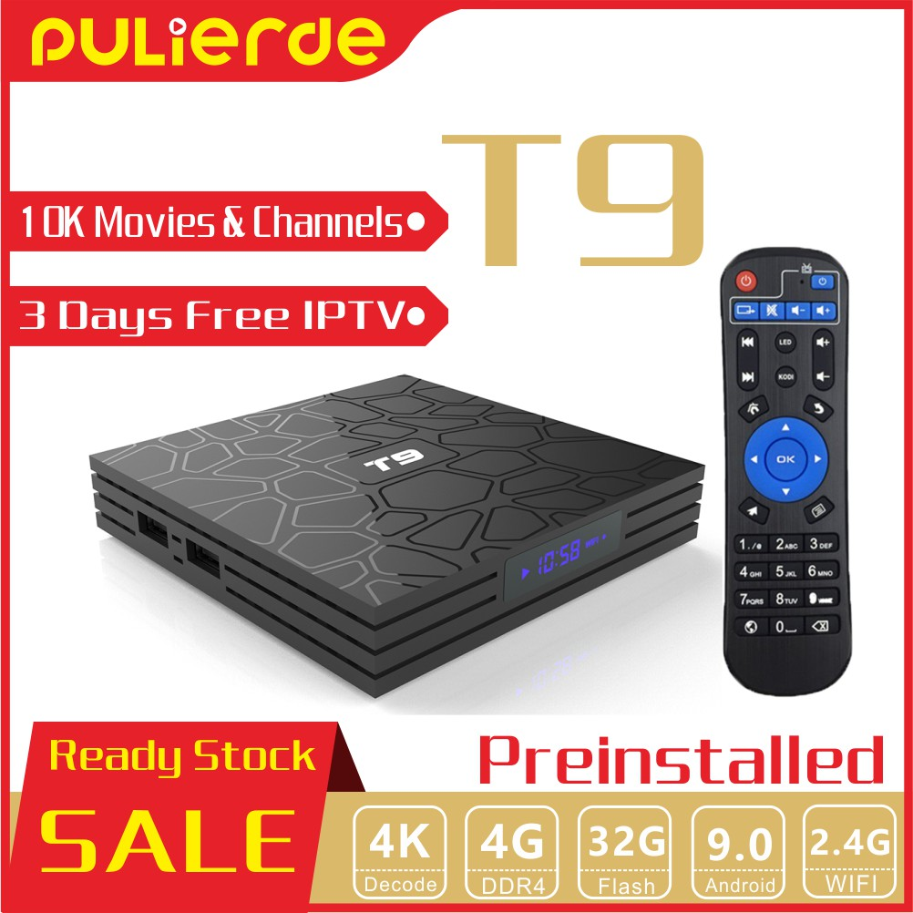 🔥Pre-Install🔥 T9 Android 9 0 TV Box 10000 Movies And Channels 4G+32G WIFI  RK3328 A53 4K With 3 Days Free IPTV