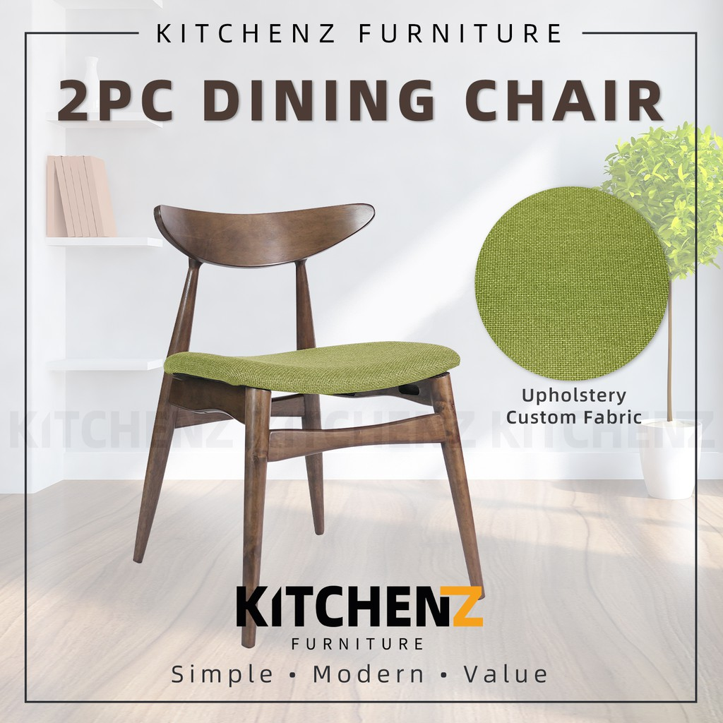 (Clearance Stock & Ready Stock) KitchenZ 2PCS Dining Chair with Cushion Fabric/ Green / Grey - HMZ-FN-DC9568