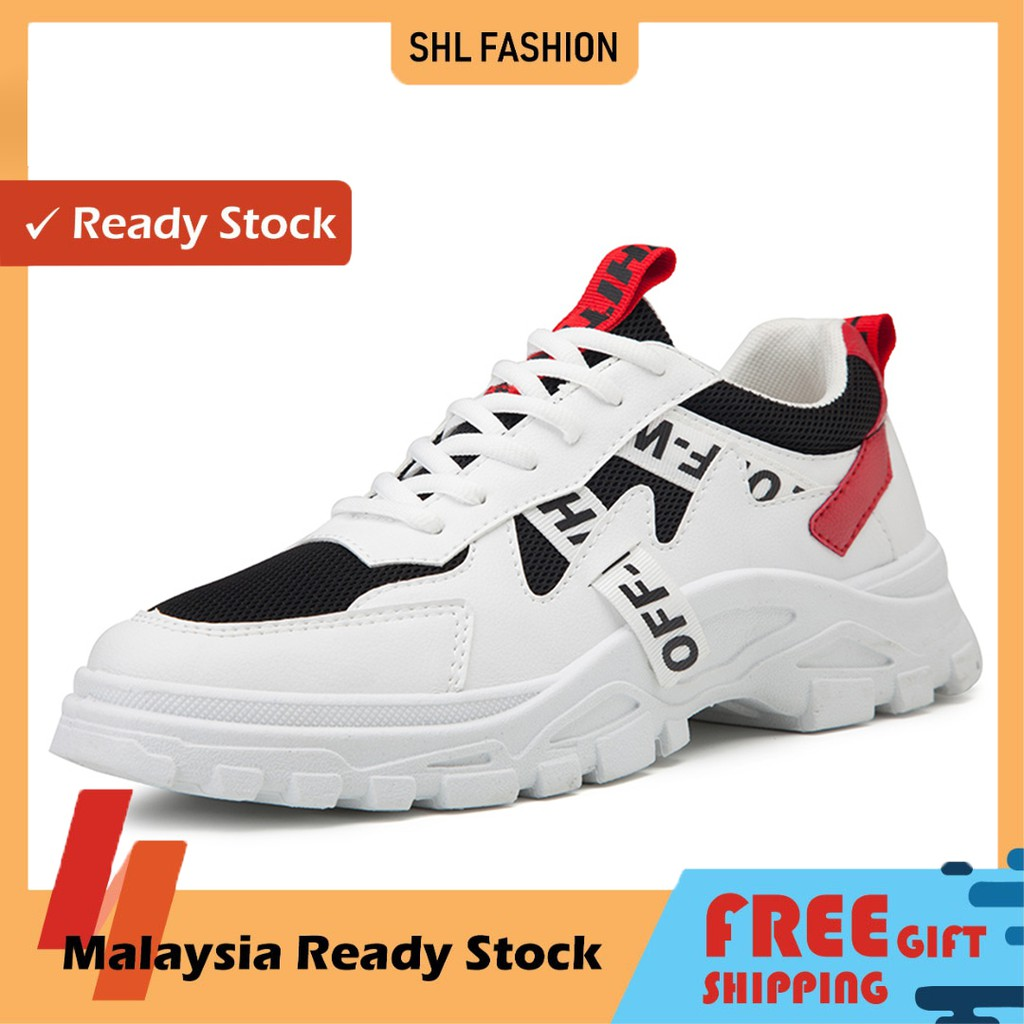 READY STOCK Korean Men's Sports Shoes 2020 new style Sports Running Mesh Breathable Fashion Casual Thick Heel Trendy