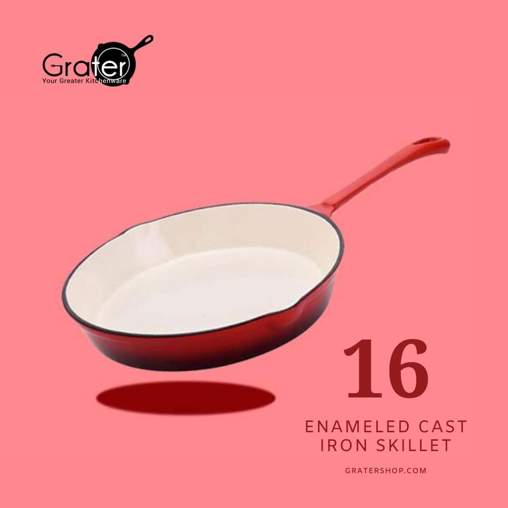 "16CM GRATER Enameled Cast Iron Skillet Frying Pan [6.25""]"