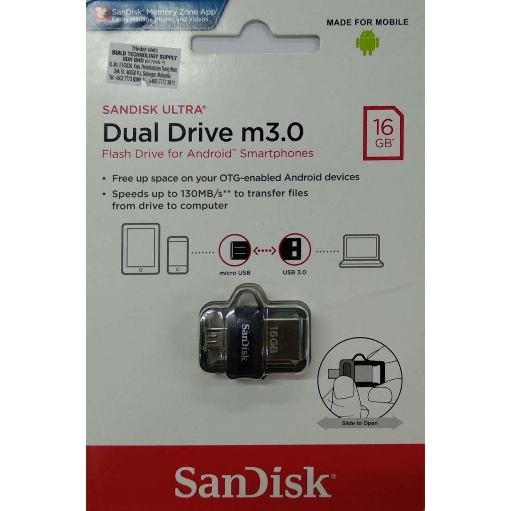 Sandisk Ultra Dual Otg 16gb Usb 30 Pendrive Shopee Malaysia Drive 16 Gb