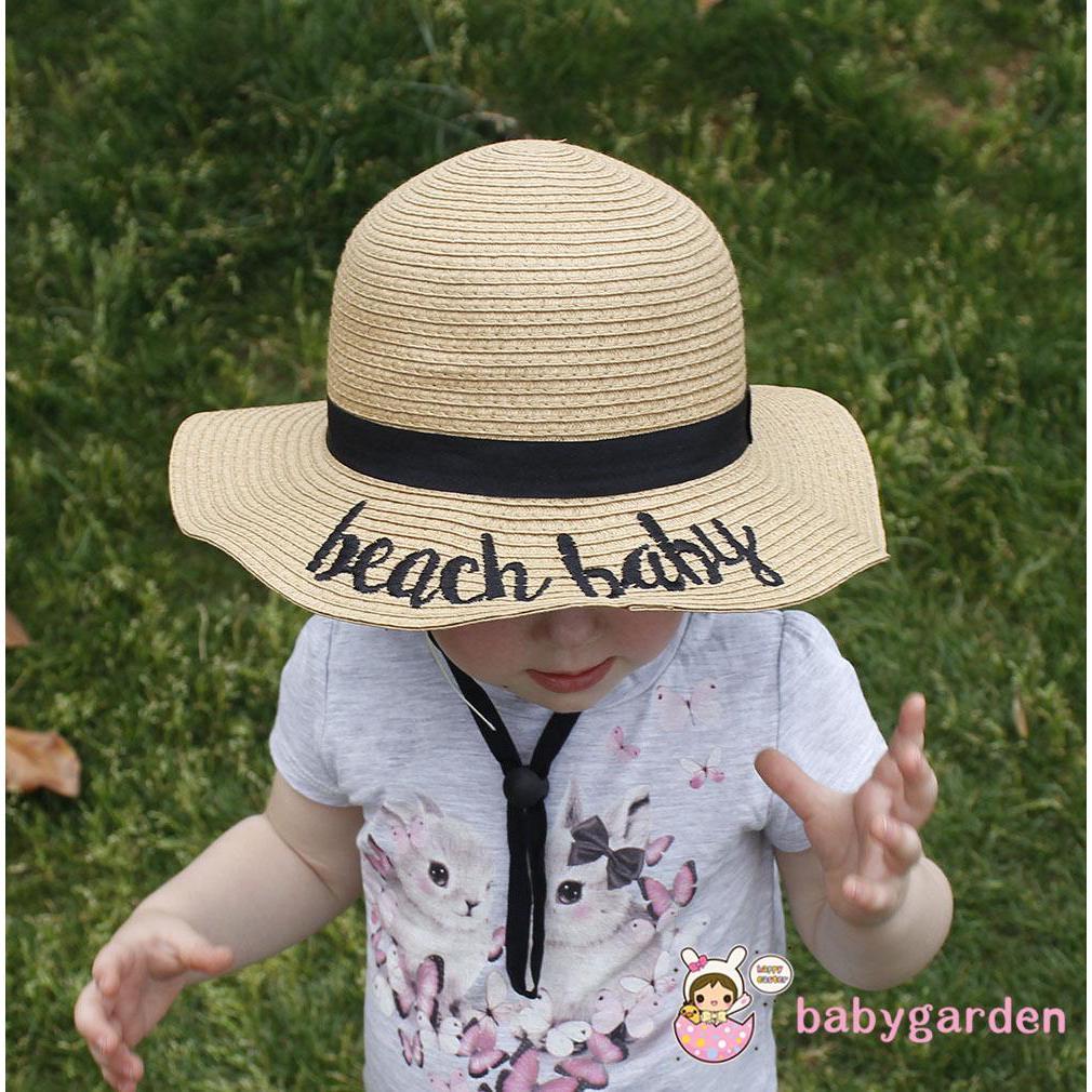 f815a3c09 Kids Wide Brim Straw Cap Summer Beach Floppy Sun Hat Foldable ...