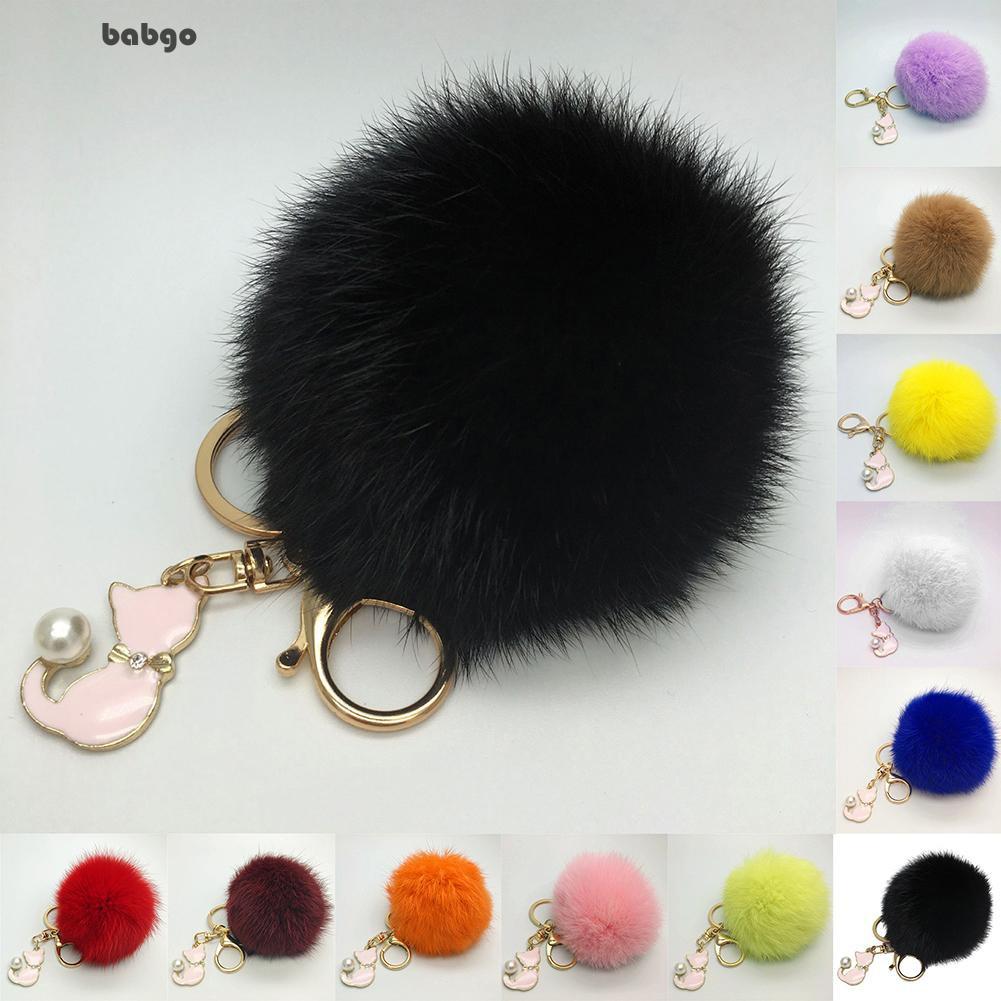 Windyella Cat Faux Fur Fluffy Ball Bag Girls Hanging Keychain ... e2f7177c00a68