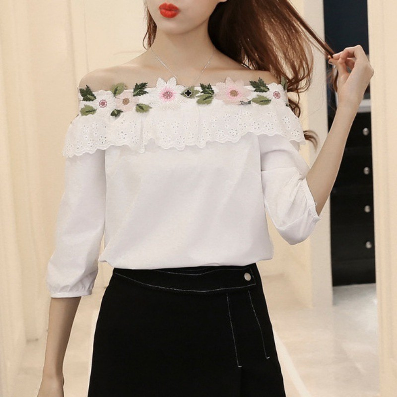 Women Shirt Girlish Floral Embroidered Blouse Korean Fashion Casual Off Shoulder Tops