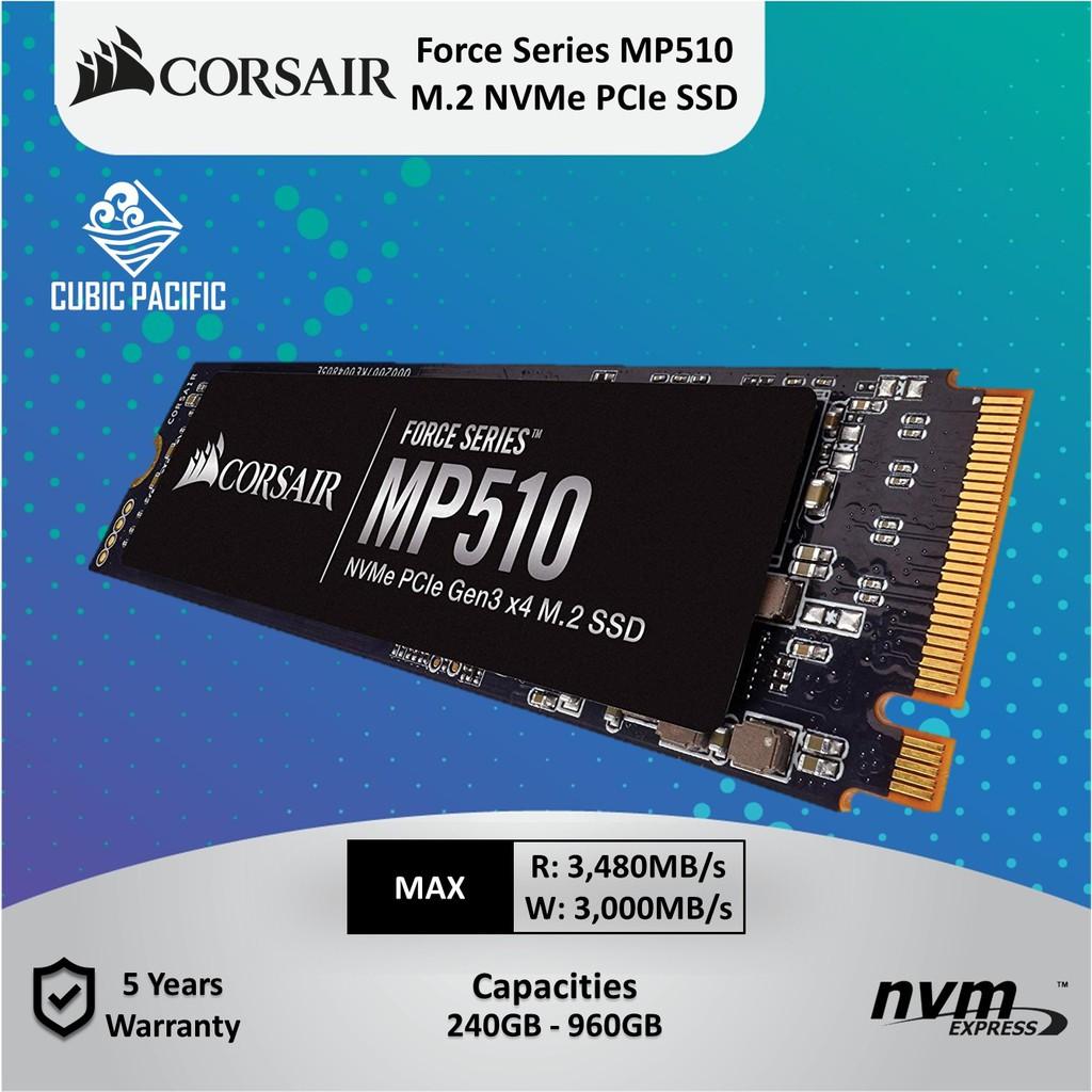 CORSAIR Force MP510 Series NVMe PCIe M 2 SSD - 240GB/480GB/960GB