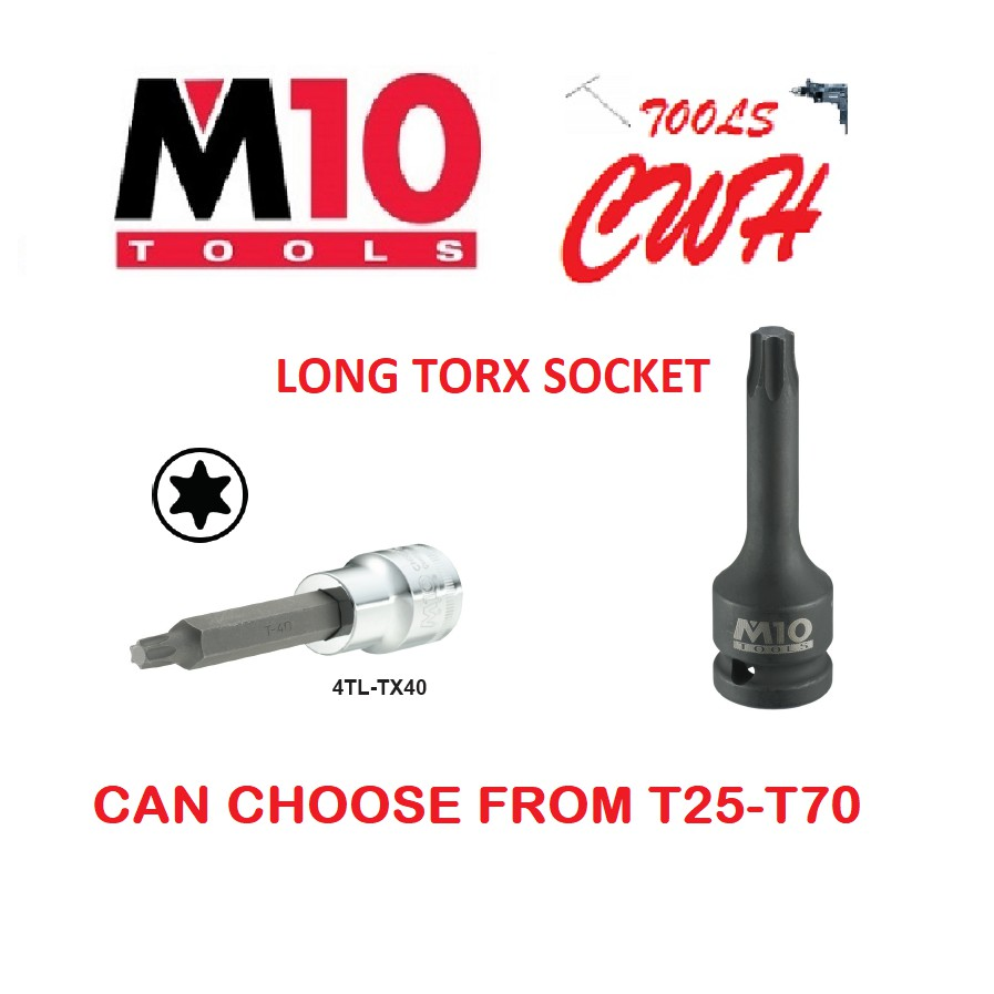"M10 SINGAPORE 1/2"" LONG TORX STAR SOCKET DRIVER BOX"