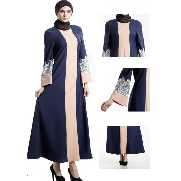 35a7631a9f Women's Vintage Elegant Loose Muslism Long Sleeve Full Length Dresses With  Lace