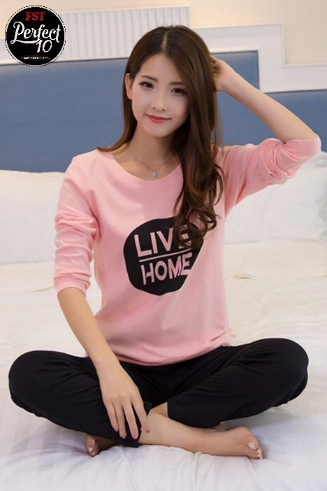 FST Silk Fabric Long Sleeve and Long Pant Pink Black Live Home Pyjamas / Set Baju Tidur Elegant design [6051]