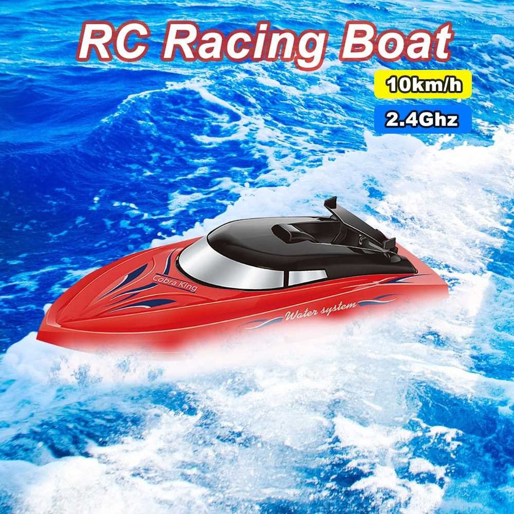 RC Boat for Kids Adult 10KM/H High Speed 2 Channels Remote Control Boats for Pools Racing Boat (Red)