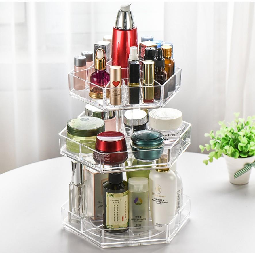 81250f068758 Acrylic Cosmetic Organizer 360-Degree Rotating Makeup Adjustable Storage Box
