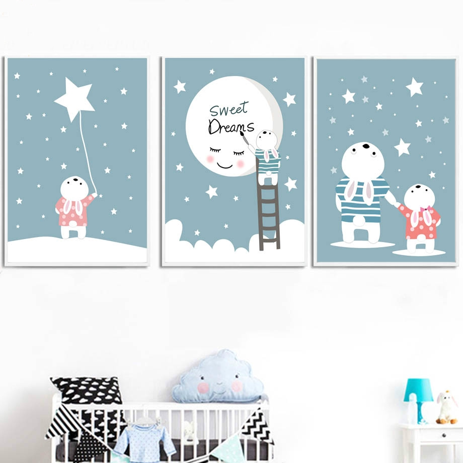 Rabbit Star Cartoon Canvas Poster Nursery Quote Wall Art Nordic Print for Kids