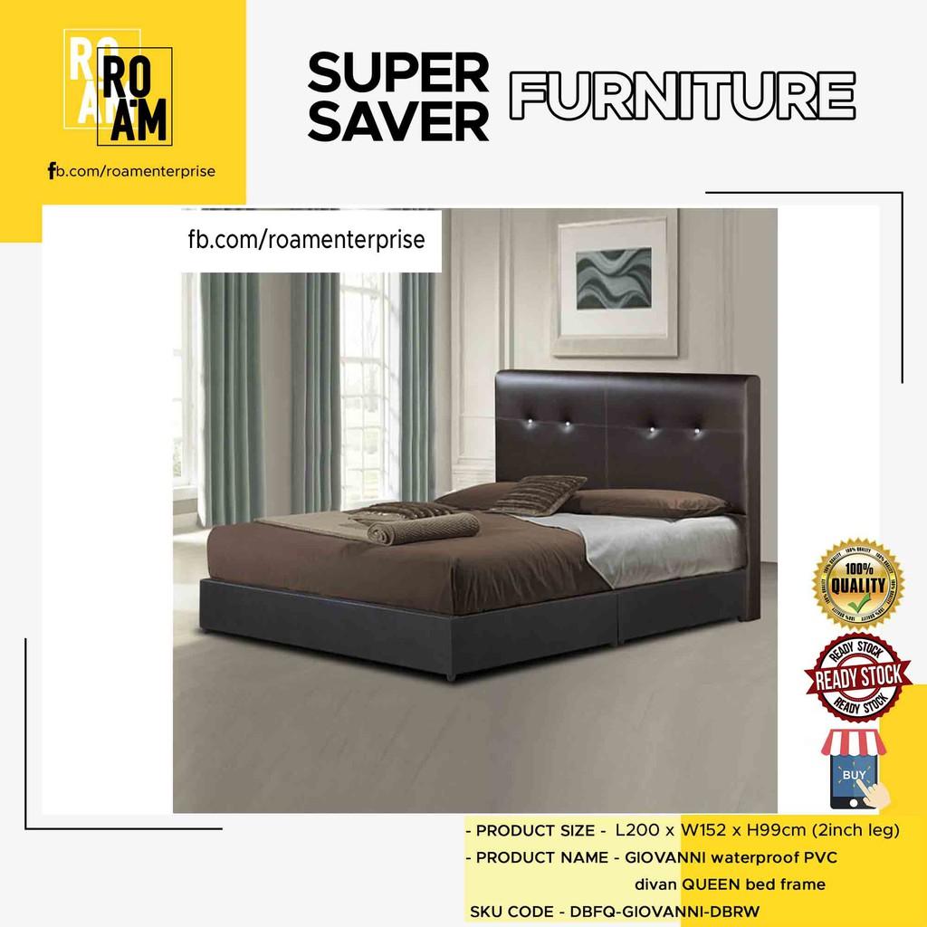 DIVAN waterproof PVC divan queen bed frame-dark brown 8005 Queen (PVC MATERIAL)