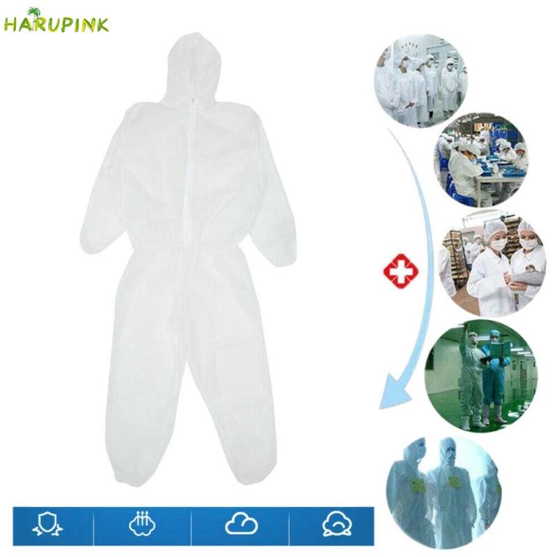 Harupink PPE ชุดป้องกันโดยรวมชุด ชุดป้องกันพิเศษสำหรับการป้องกันการแพร่ระบาดพร้อมหมวกคลุมชุดป้องกันหมอกที่ใช้แล้วทิ้งเสื้อผ้าที่ไม่