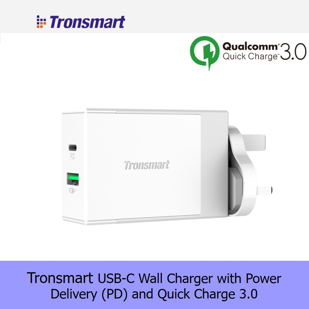 Quick Charge 30tronsmart 30 Huawei Fcp 3 Port Tronsmart 42w Charger W3pta Qualcomm Certified Wall Shopee Malaysia