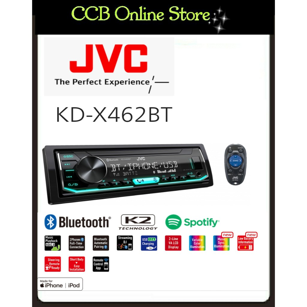 JVC KD-X462BT Spotify Bluetooth USB AUX INPUT Digital Media Receiver (NO CD)