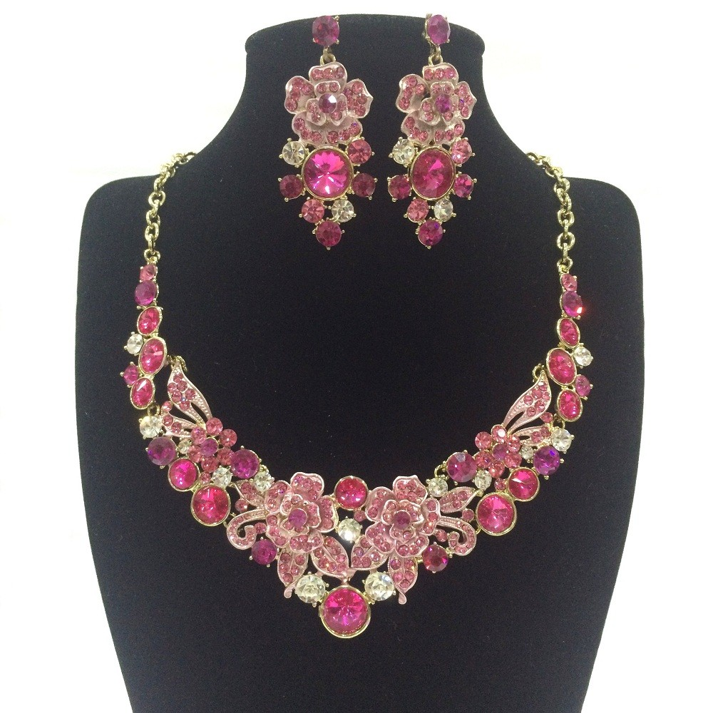 Flower Stone Crystal Design Jewelry Necklace Earrings Set Pink