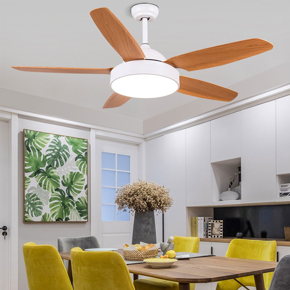 52 Inch Nordic Vintage 5 Blades Ceiling Fan With Lights